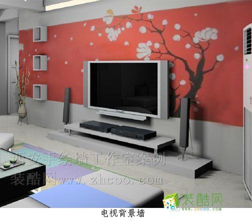 经典电视背景墙 手绘图 一室一厅一卫
