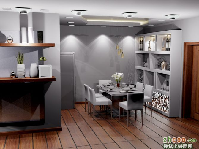 餐厅酒柜的制作加上地砖铺设