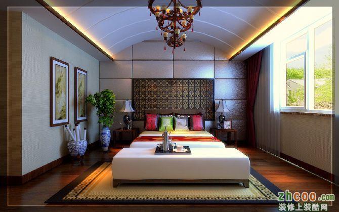 卧室作为婚房的卧室棚面采用拱形造型吊顶