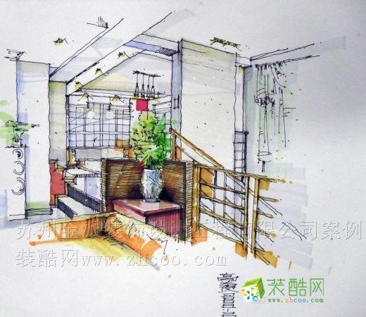 广州白天鹅宾馆中庭手绘图