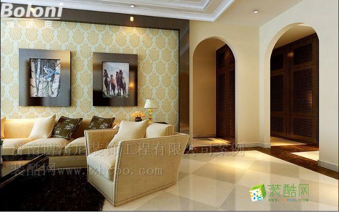 客厅省人大单位宿舍欧式新古典装修设计济南博洛尼咨询15165197708