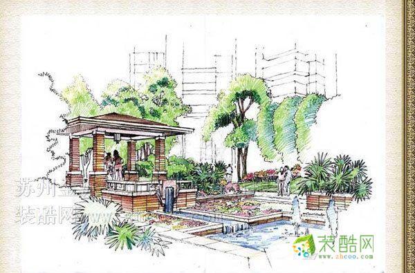 手绘图别墅花园