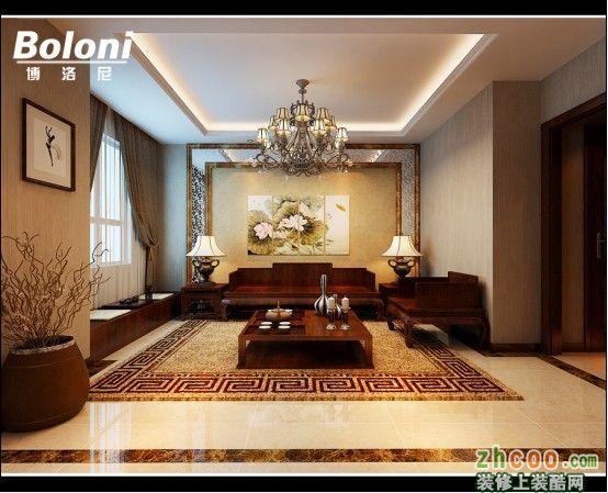 客厅 逸城山色顶层复式 新中式设计济南博洛尼咨询15069072733 逸城山