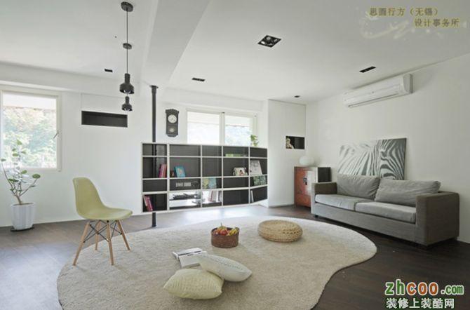 45平米小户型灰色调客厅装修效果图