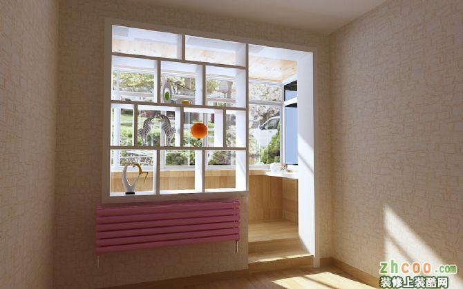 阳台 不采用常规的推拉门形式.简单的隔断造型.