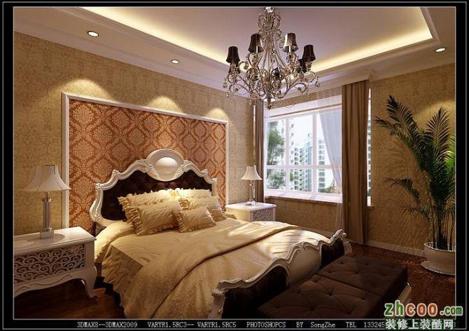 由于客厅进深较大,所以考虑将沙发提前,沙发后考虑欧式雕花屏风,起到