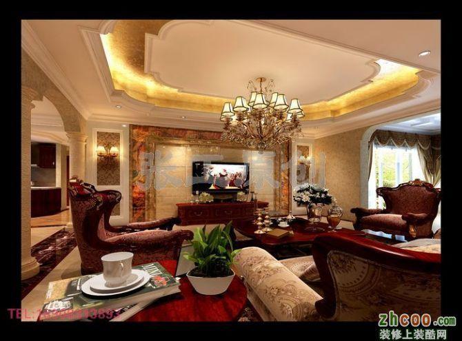 欧式客厅异形顶效果图