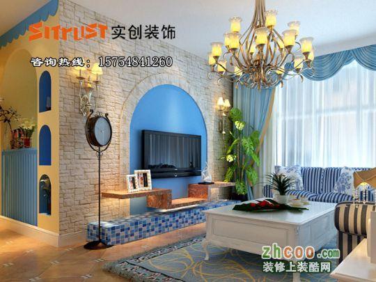 风格装修沙发背景墙效果图--沙发背景采用圆弧形设计