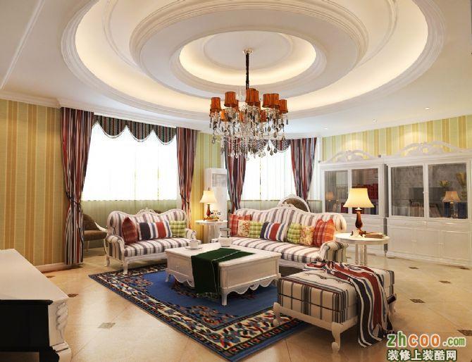 客厅吊顶是亮点,石膏线圆形造型