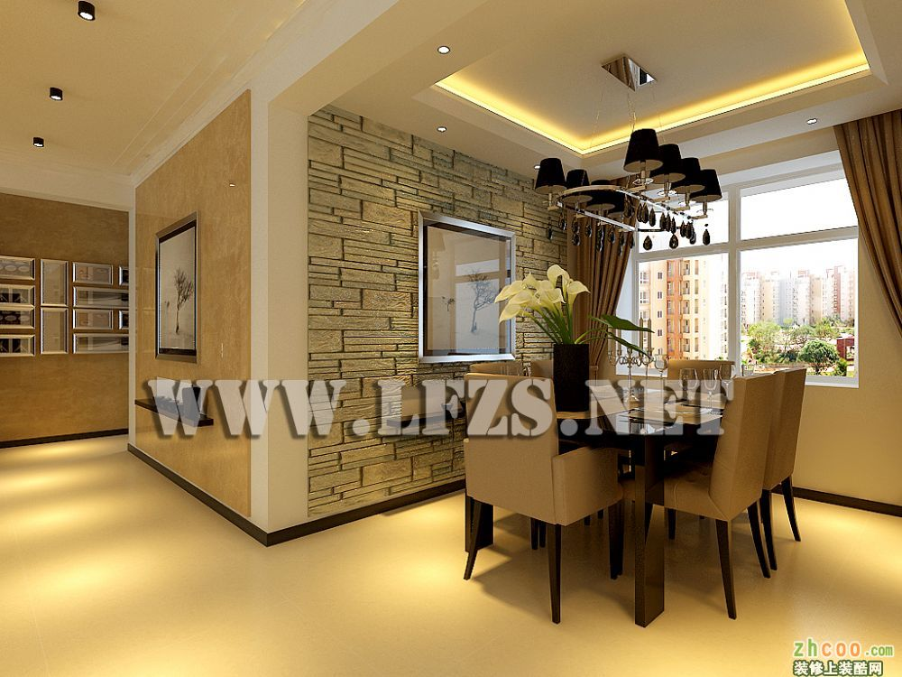 设计思路:  在电视背景墙方面采用柔和壁纸和铁刀木免漆板搭配,在