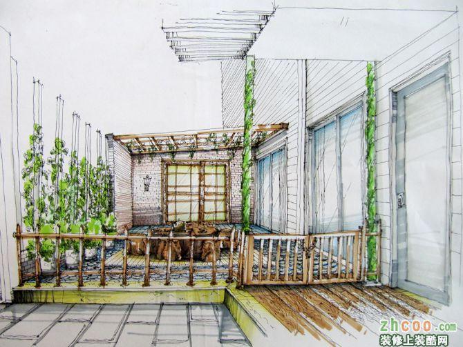 简笔画 手绘 线稿 阳台