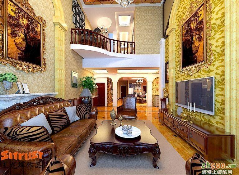 客厅装修效果图 提香草堂239平米别墅欧式风格装修效果图