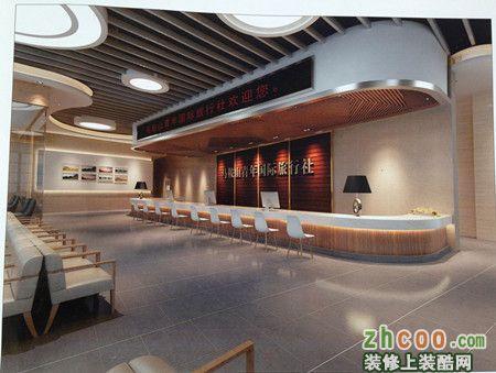 前台 现代风格 大厅效果图 马鞍山国际旅行社