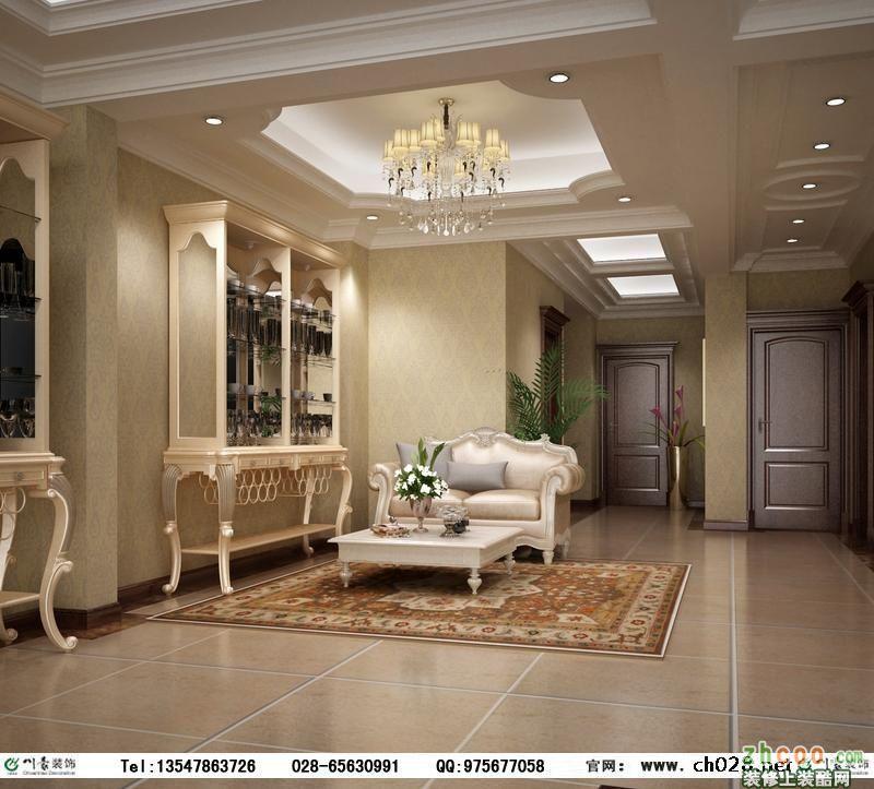 客厅和餐厅的吊顶都用了比较复杂,具有欧式风味的石膏线条多层吊顶,更