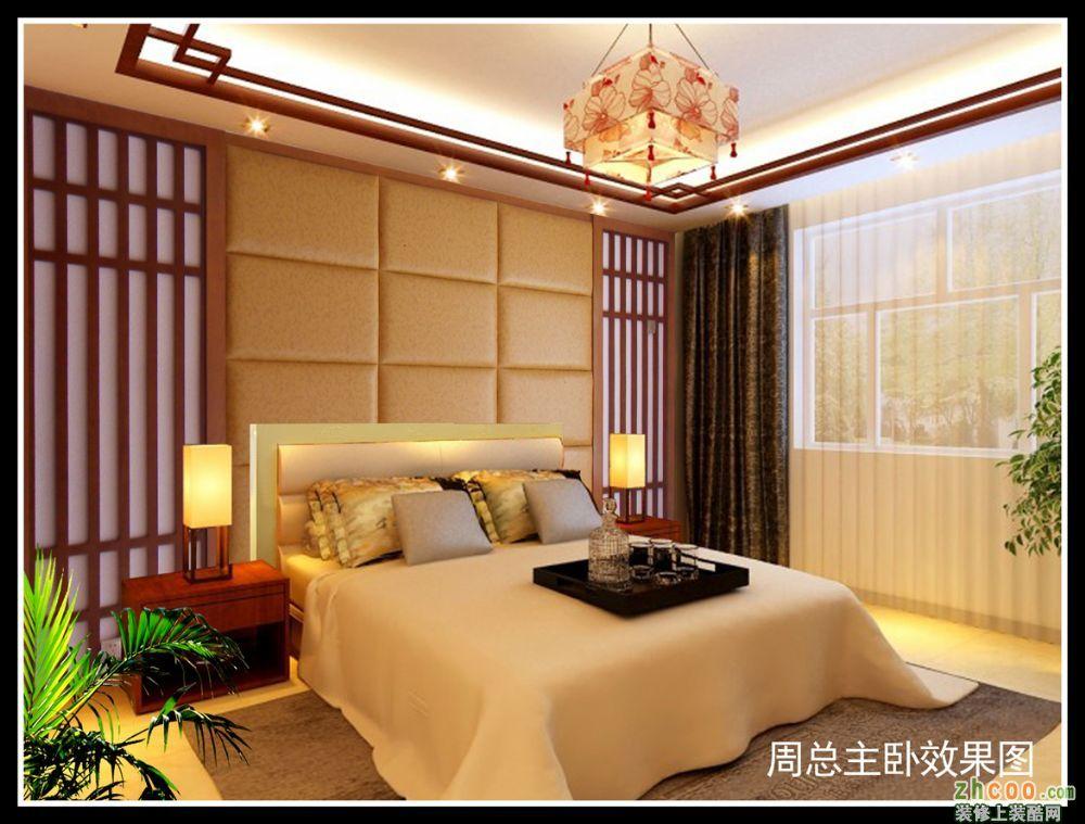 卧室 软包床头,实木线条