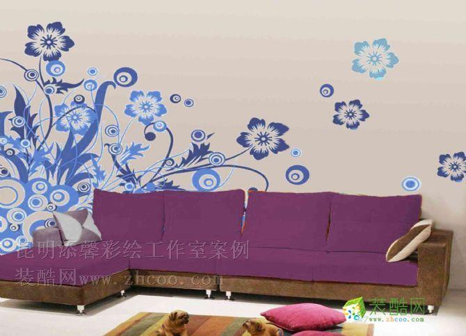 手绘 沙发背景墙 三室一厅一卫