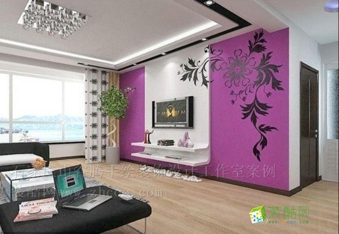 家庭电视背景墙 手绘图 两室两厅一卫