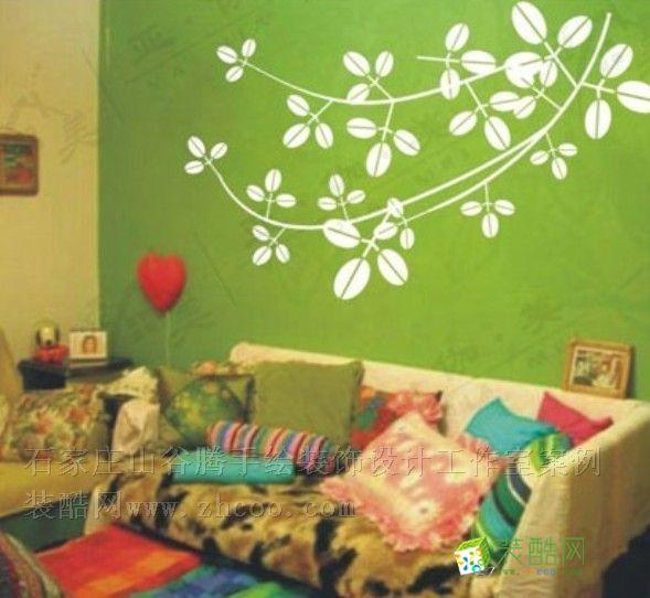 客厅手绘墙_装酷网装修效果图