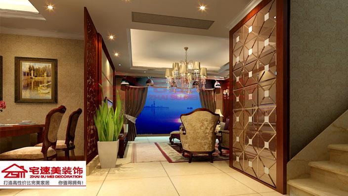 凤岭山语城小区137平米小跃层五房两厅简欧风格装修案例 欧式风格