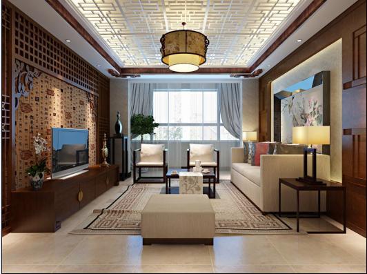 凯德锦绣79平一居室中式风格