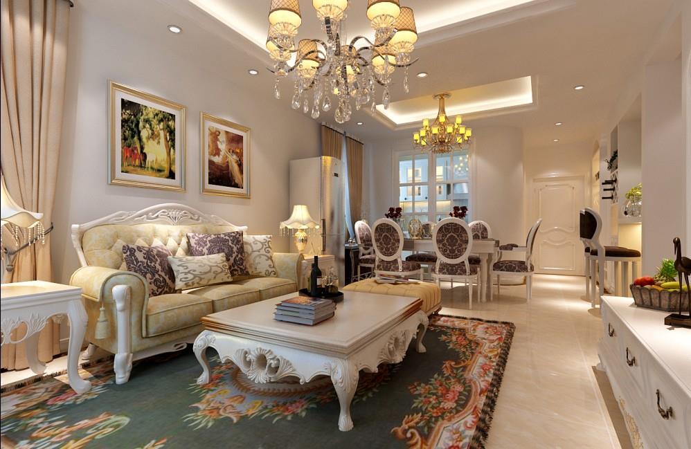 客厅 餐厅装修效果图 熙兆嘉园小区95平米简欧风格