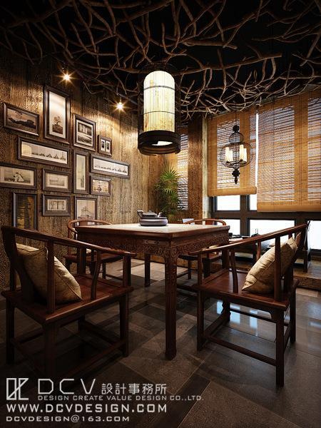西安休闲会所室内设计—泾阳德林主题餐厅 茶秀棋牌 新中式风格