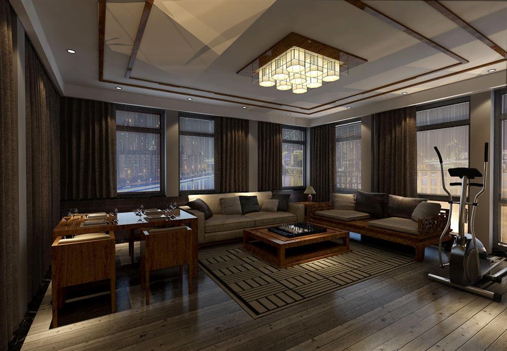 虽然中式但还是在客厅背景位置选择了比较具有现代
