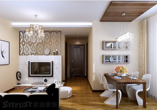 空间类型:现代风格 两室一厅一卫 房屋面积:71 装修方式:全包 工程造价:5.5万 本案为现代简约风格。按照业主的需求,整体风格凸显了宽敞明亮、简洁欢快的特点。 客厅较为宽敞,采光良好,在装饰方面采用了浅色的地砖和带有古典江南色彩的壁纸,家具方面采用了显得稳重的灰色系,动静结合,相得益彰。 餐厅的装饰方面采用了表面光滑的材质,缓解了餐厅采光不是很好的局面。并在过道的顶面上以造型吊顶和较通透的隔断完好的分隔出了客厅和餐厅的区域空间。 卧室则以暖色调为主,采用了简单的竖条纹装饰壁纸,显现了空间的简单和有条理