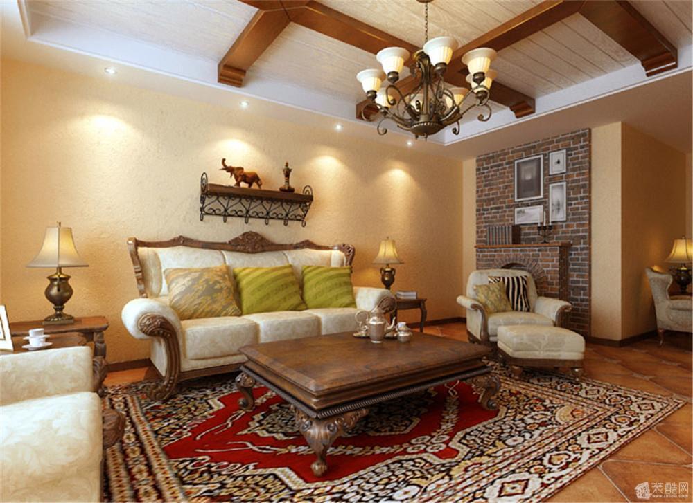 客厅 实木线条的顶面设计与复古的地面造型遥相呼应,把美式乡村的自然