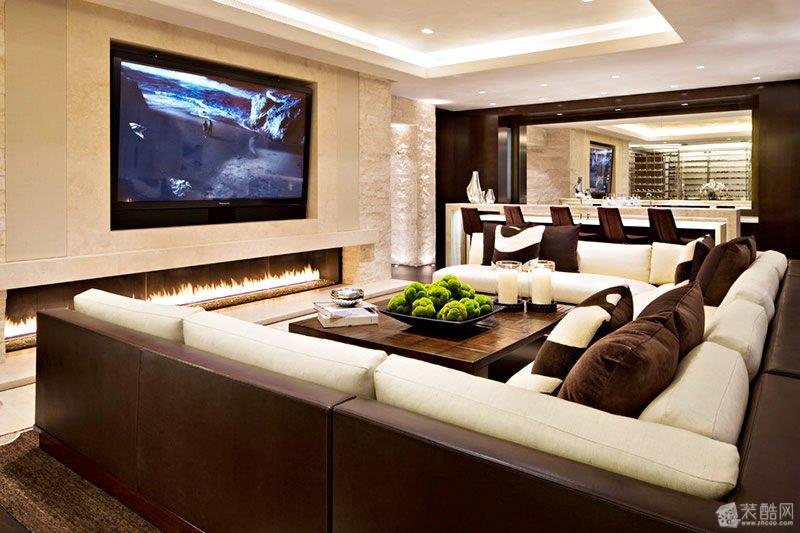 嵌入式电视背景墙设计 混搭风格 其他图片