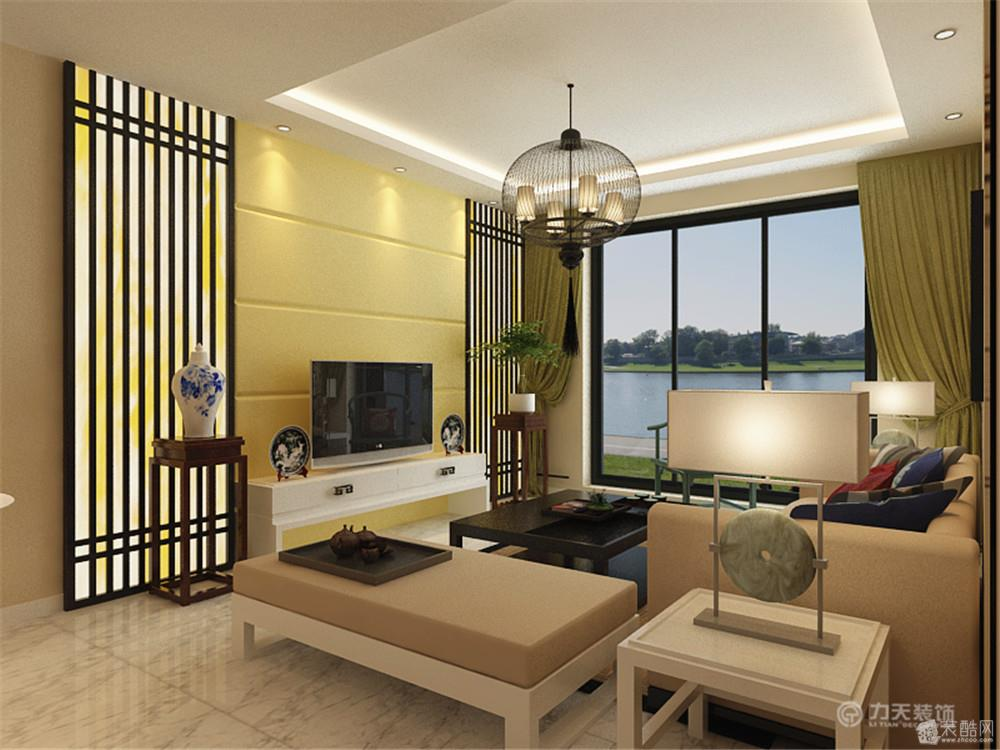 电视背景墙采用了黄色,又有中式的竖木条.