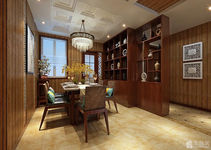 餐桌正中吊顶选用九宫格传统中式元素,给人特别的中式元素.