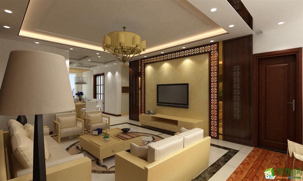 客厅 暖黄色的沙发跟电视背景墙