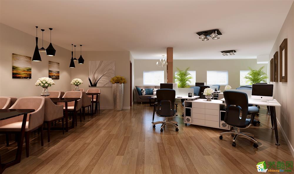 一层融合休闲跟办公一体。印入眼帘的是浓郁的咖啡厅桌椅,典雅的黑色跟粉色搭配,强调油然而生;白色的办公桌,一方面具备艺术感,跟主题相辉映,另外色彩靓丽素雅。