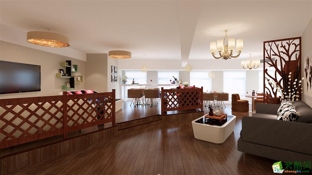 红木色的地板跟格栅,暖色调的墙漆、空间设计井然有序,充满艺术跟唯美感。