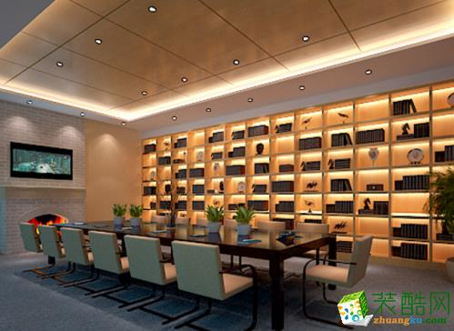 """设计理念:     走进会议室,与其说是一个办公空间,不如说是一个高雅的会所。在现代和古典气息并存的会议室,员工们可以随意交流,读书和工作。注重工作区域的人性化,体贴设计,是设计师本案的理念。在这里,东方与西方带着彼此的尊重而神会心契。  亮点:   在这里,""""融合""""被一种现代的对话所取代,体现出一种价值观,以及那些隐藏在心底的愿望。"""