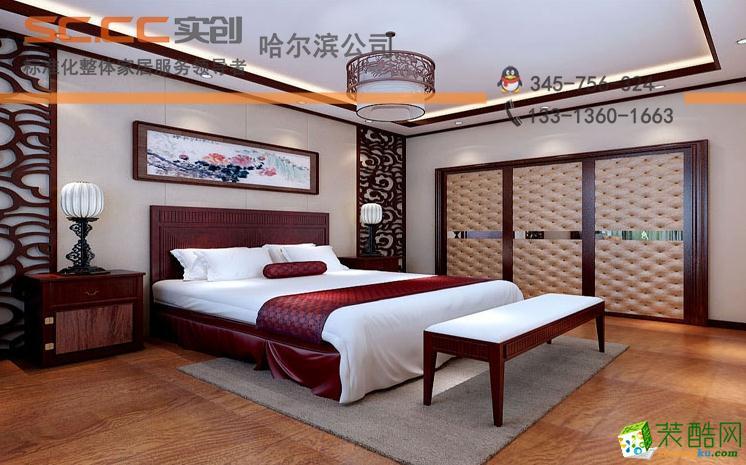 亮点:复古装饰,桃色的橱柜繁复而清新的木纹加上一些中式特点的吊灯
