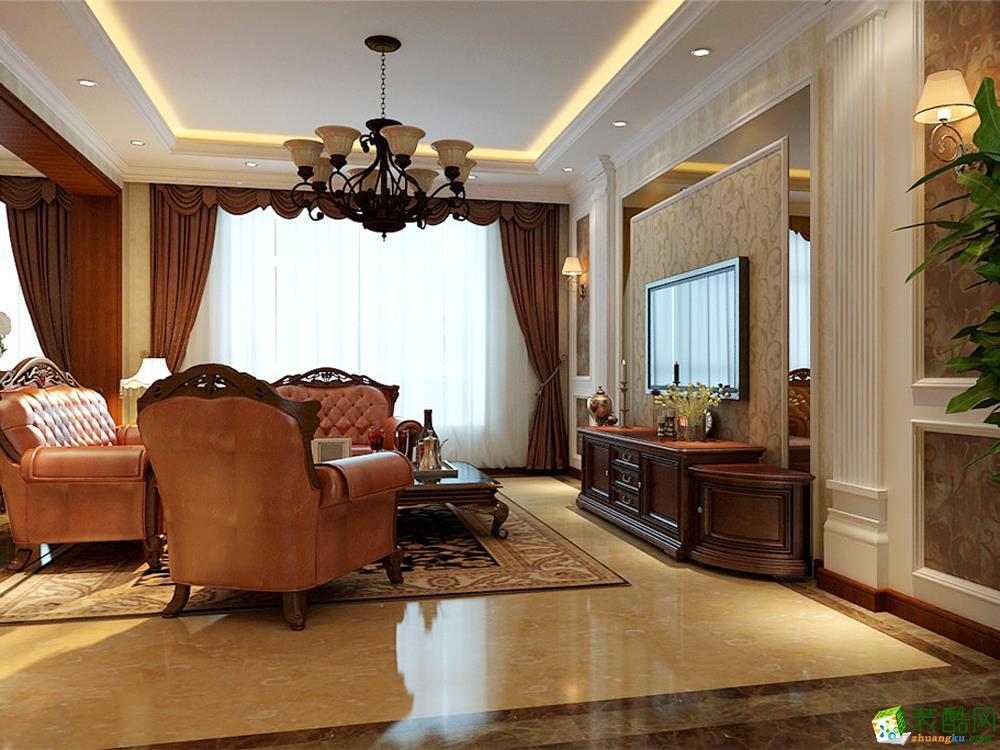 客厅吊顶 客厅说明:客厅天花板采用嵌入式石膏吊顶,搭配精致的