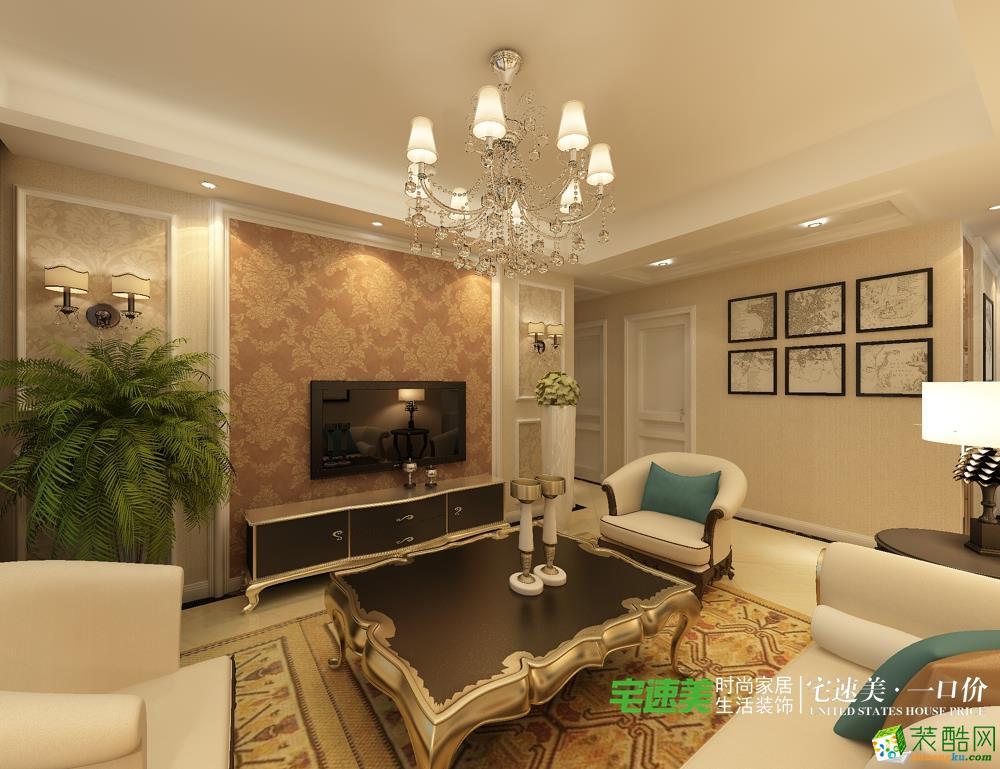 龙凤佳苑三室两厅104平简欧风格装修效果图效果图