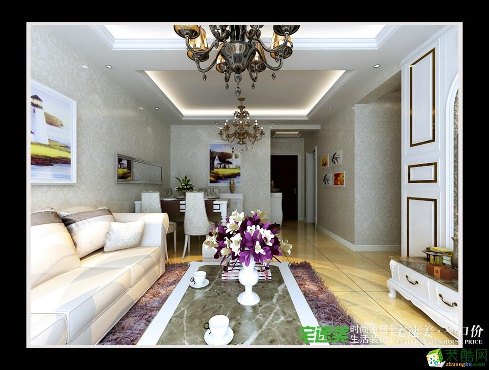信达荷塘月色三室两厅95平简欧风格装修效果图效果图