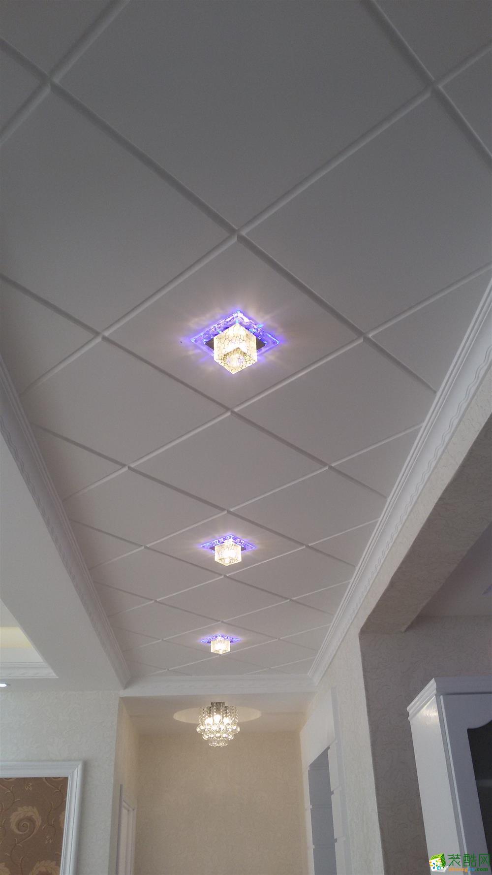 过道吊顶 菱形吊顶搭配水晶灯