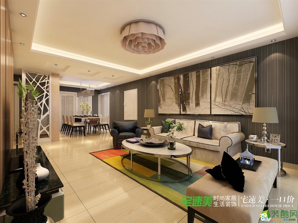 东方龙城三室两厅141平简欧风格装修效果图 欧式风格 三室两厅一卫