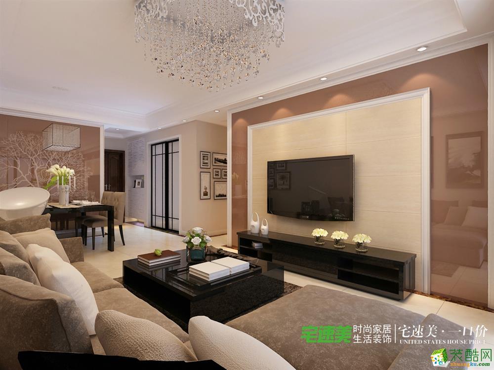 >> 信达荷塘月色三室两厅115平欧式风格装修效果图