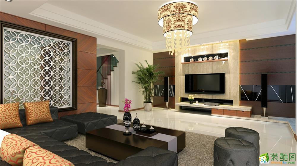 客厅 复地绿缇别墅装修现代风格设计方案展示-上海