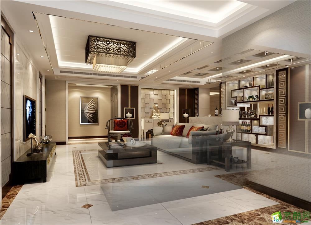 永业公寓大平层新中式风格设计 中式风格 四室两厅两卫