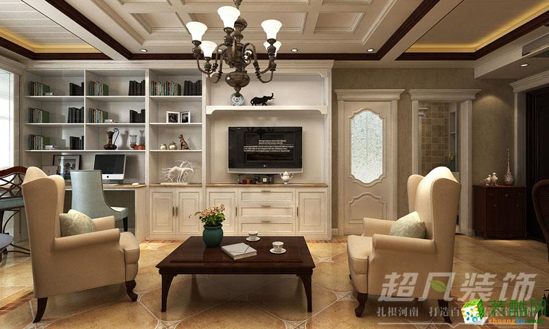 书柜隔断和电视背景墙成了一个完美的整体