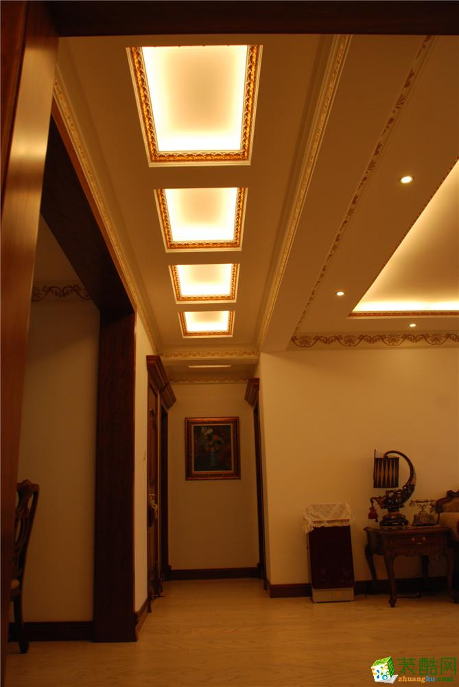 过道吊顶 绿地东上海三居室欧式风格装修实景展示