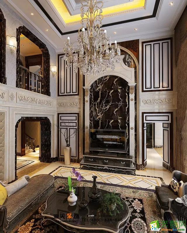 客厅 十米的挑空层高空间,为方形造型,运用空间高挑空,层次分明,其