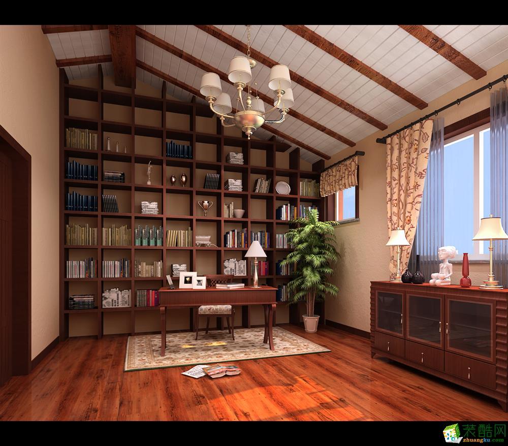 奉贤区160平联排别墅美式乡村风格装修设计效果图
