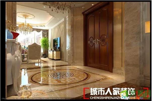 欧式风格,墙面采用意大利木纹大理石营造出低调奢华的氛围,迎门的户型